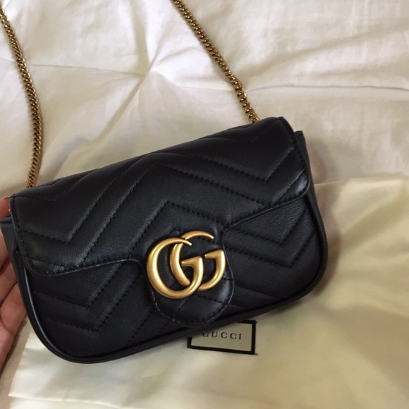 648cbf51dd7 Gucci Handbags - GUCCI Marmont Black Super Mini
